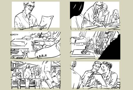 Hand drawn business meeting -iv-