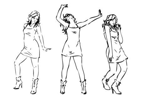 Getrokken dansende meisjes Stock Illustratie