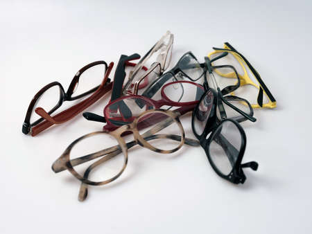 A group of eyeglasses , colorful frames . 免版税图像