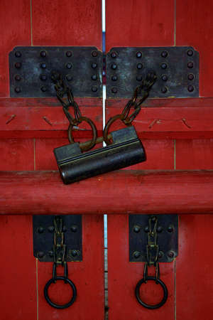 Close-up of doors to a South Korean temple photo