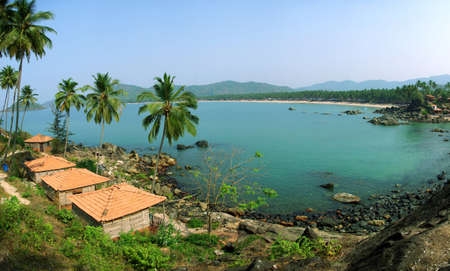 Palolem Beach lagoon, Goa  Panoramic from 5 photos Stock Photo - 13704349