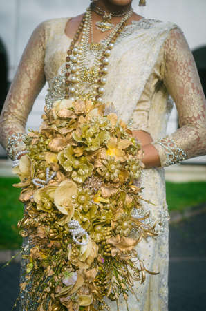 Wedding Bouquet In Hands Of The Bride Sri Lanka Stock Photo