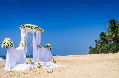 Wedding set up on tropical beach