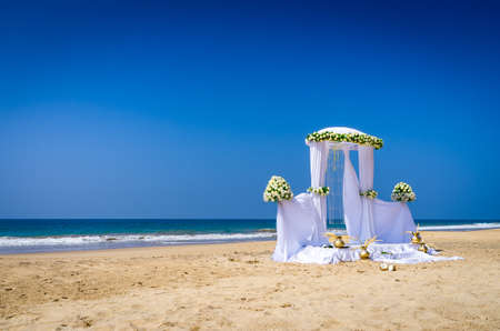 Wedding set up on tropical beach