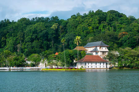 Temple of the Sacred Tooth Relic (Sri Dalada Maligawa) is a Buddhist temple situated in world heritage site, Kandy, Sri Lanka. Stock Photo