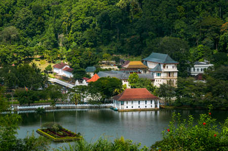 Kandy temple of the tooth and the lake, Kandy, Sri Lanka Stock Photo