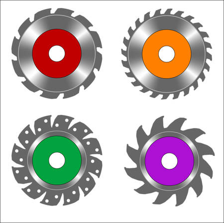 metal round blade of electric circular saw, vector illustration