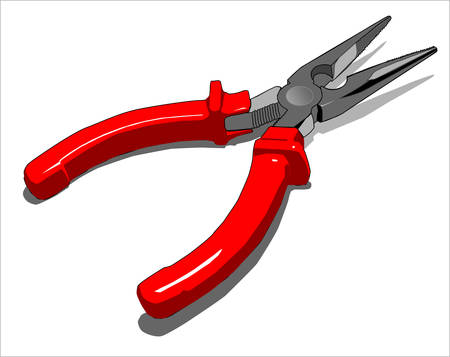 steel pliers with red plastic handles, vector illustration