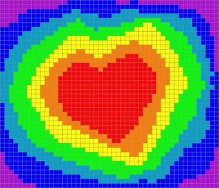 valentine heart in rainbow pixels, vector illustration Vector