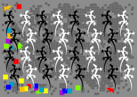 cling: abstract pixel lizard background, vector illustration