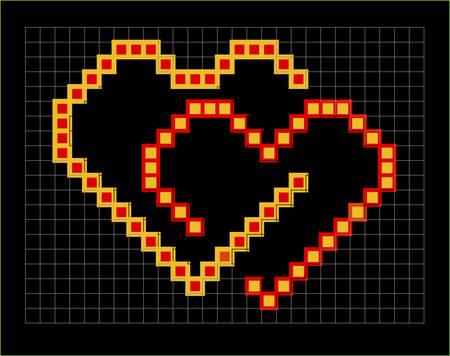 valentine pixel hearts couple, vector illustration Vector