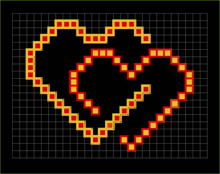 valentine pixel hearts couple, vector illustration Vector
