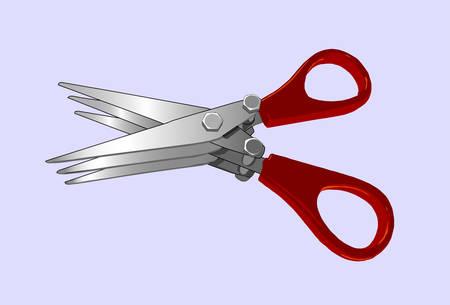 triple: triple scissors for fishing baits, vector illustration