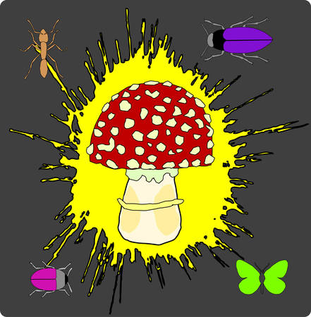 a fly agaric: abstract fly agaric blot background, vector illustration
