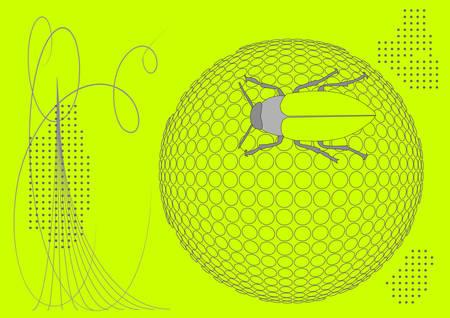 three dimensions: bug on ball halftone background, vector illustration