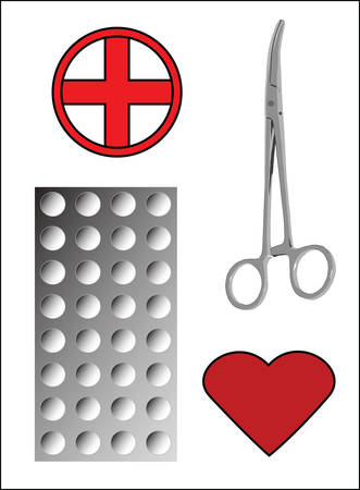 blisters: Medical Forceps and Tablets on White Illustration