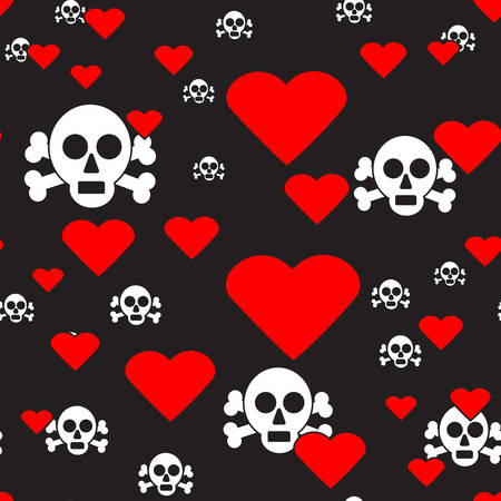 Sculls and Hearts on Black Seamless Pattern