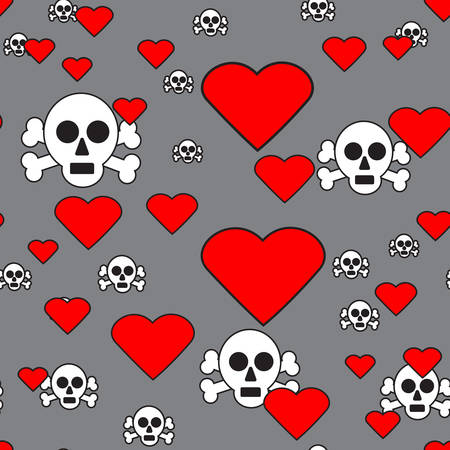 gray pattern: Sculls and Hearts on Gray Seamless Pattern