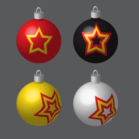 Decorative Balls Blotted for Christmas Tree Illustration