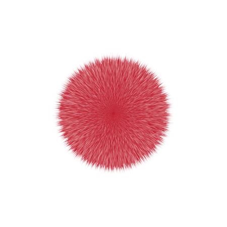 Red fluffy vector hair ball, illustration on white background. Illustration
