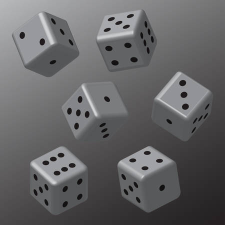 Grey Dice with Black Points