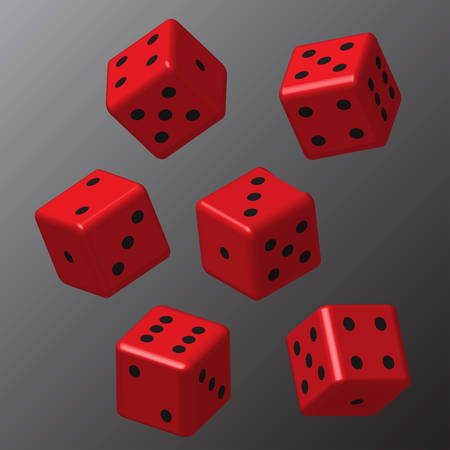 Red Dice with Black Points on Grey Background