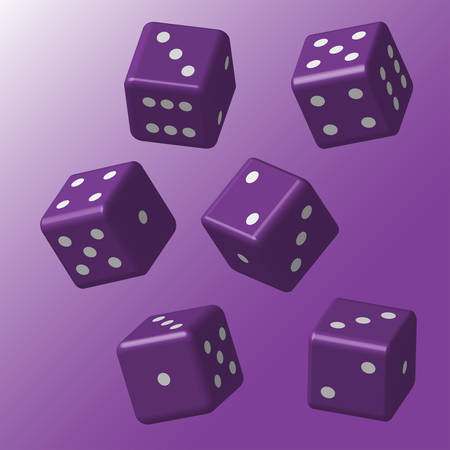 Purple Dice with White Points Illustration