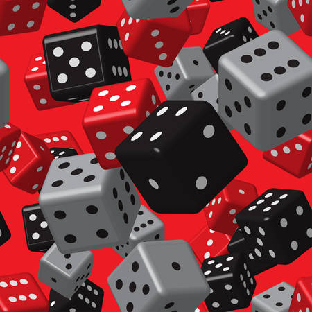 Red Grey Black Dice Seamless Pattern on Red Background Illustration