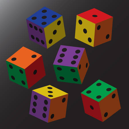 Rainbow Dice with Black Points.