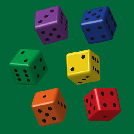 Rainbow Dice with Black Points Vectores