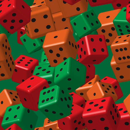 Red, orange and green dice seamless pattern. Illustration