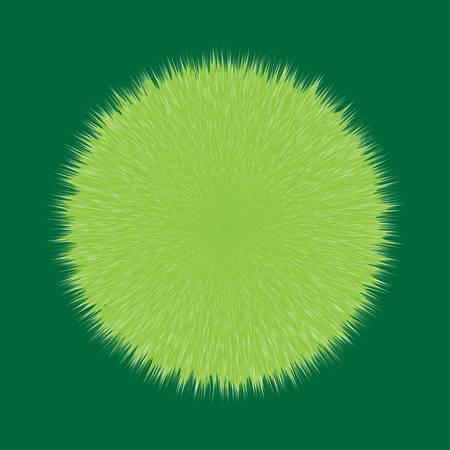 Green Fluffy Vector Hair Ball Illustration