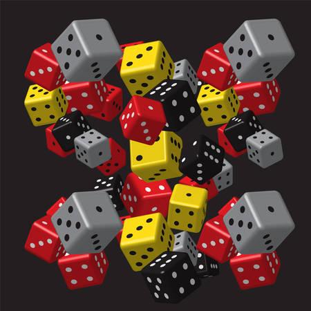 Red Gray Dice Pattern Illustration