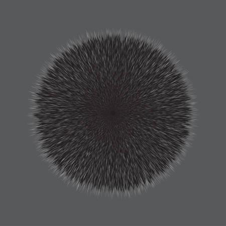Grey Fluffy Vector Hair Ball, Illustration on Grey Background