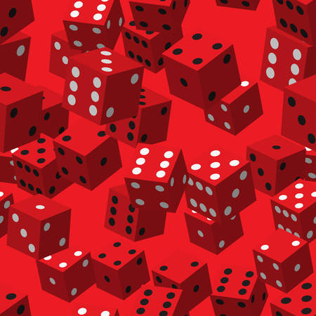 Red Dice Seamless Pattern Vector illustration.