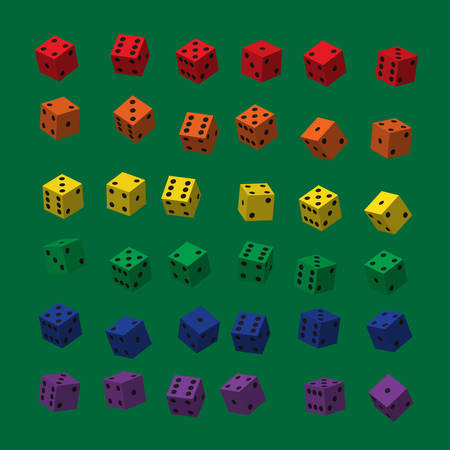 Rainbow Dice with Black Points isolated on plain background.