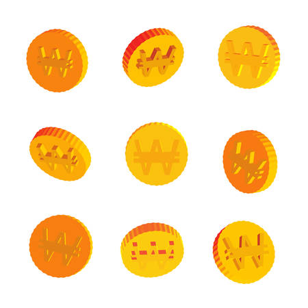 Golden Coins with Won Symbols