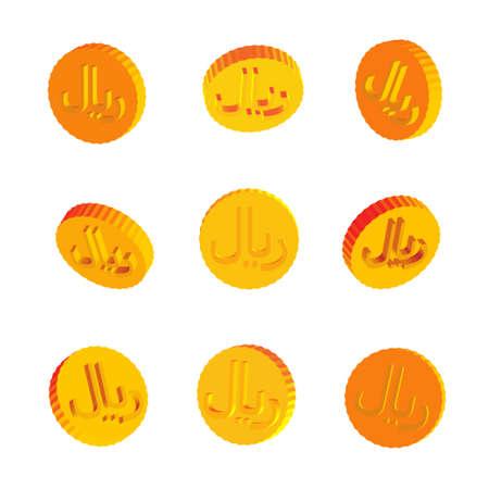 Golden Coins with Rial Symbols Banco de Imagens