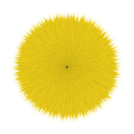 Yellow Fluffy Vector Hair Ball