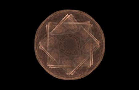 abstract fractal golden symmetric figure on black