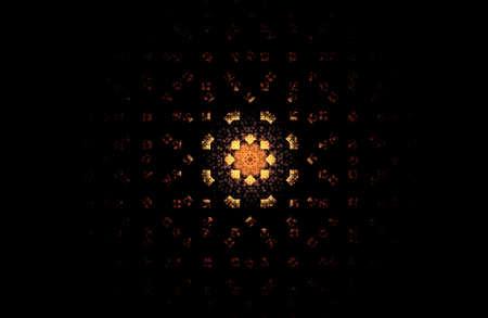 abstract fractal golden symmetric figure on black, illustration Banco de Imagens