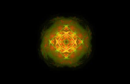 abstract fractal golden green symmetric figure