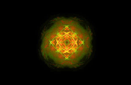abstract fractal golden green symmetric figure Banco de Imagens - 121815472