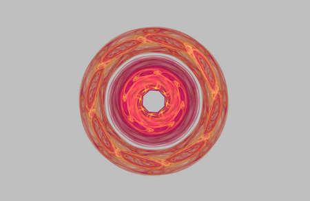 abstract fractal golden symmetric figure on grey Banco de Imagens