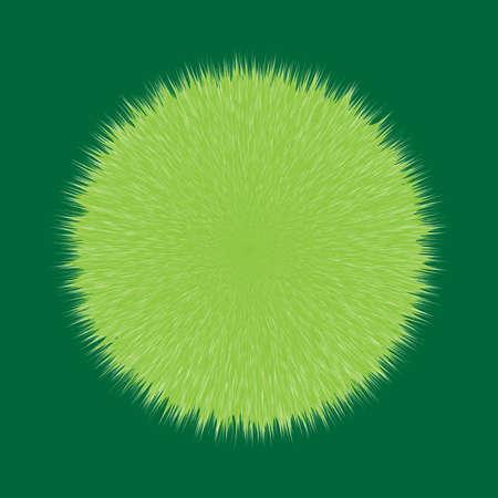 Green Fluffy Hair Pom, 3D illustration