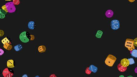 Rainbow Color Dice, 3D illustration Banco de Imagens