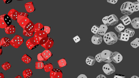 Red and White Dice, 3D illustration