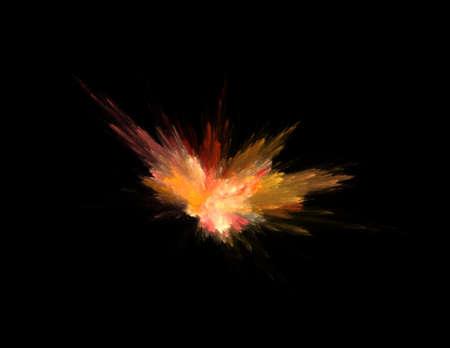 combustion on black background, fractal rendered illustration