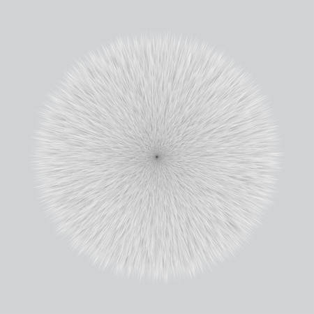 Gray Fluffy Hair Pom, 3D illustration on Gray