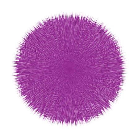 Purple Fluffy Hair Pom, 3D Illustration on White
